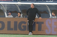 FOXBOROUGH, MA - SEPTEMBER 02: New England Revolution coach Bruce Arena watches the team during a game between New York City FC and New England Revolution at Gillette Stadium on September 02, 2020 in Foxborough, Massachusetts.