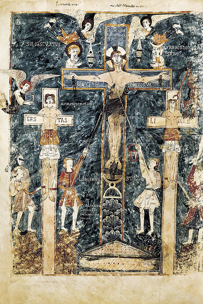 """Beatus of Girona. 976. Fol. 16v, Crucifixion. Copy in Visigothic style, finished in 976, of the """"Commentaries on the Apocalyps"""