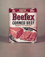 Januari 1967. Beefex corned beef.