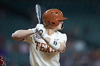 Douglas Hodo III (7) of the Texas Longhorns at bat against the Arkansas Razorbacks in game six of the 2020 Shriners Hospitals for Children College Classic at Minute Maid Park on February 28, 2020 in Houston, Texas. The Longhorns defeated the Razorbacks 8-7. (Brian Westerholt/Four Seam Images)