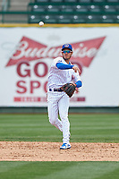South Bend Cubs shortstop Rafael Narea (2) throws to first base during a Midwest League game against the Cedar Rapids Kernels at Four Winds Field on May 8, 2019 in South Bend, Indiana. South Bend defeated Cedar Rapids 2-1. (Zachary Lucy/Four Seam Images)