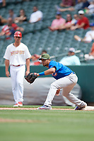 Iowa Cubs first baseman Jeimer Candelario (5) during a game against the Memphis Redbirds on May 29, 2017 at AutoZone Park in Memphis, Tennessee.  Memphis defeated Iowa 6-5.  (Mike Janes/Four Seam Images)