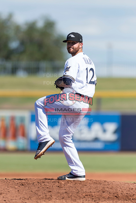 Peoria Javelinas starting pitcher Bubba Derby (12), of the Milwaukee Brewers organization, delivers a pitch during an Arizona Fall League game against the Glendale Desert Dogs at Peoria Sports Complex on October 22, 2018 in Peoria, Arizona. Glendale defeated Peoria 6-2. (Zachary Lucy/Four Seam Images)