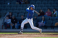Joey Loperfido (36) of the Duke Blue Devils follows through on his swing against the Coastal Carolina Chanticleers at Segra Stadium on November 2, 2019 in Fayetteville, North Carolina. (Brian Westerholt/Four Seam Images)