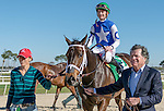 OLDSMAR, FLORIDA - FEBRUARY 13: Tepin  #5, with Owner Robert Masterson, ridden by jockey Julien Leparoux, after winning the Lambholm South Endeavour Stakes at Tampa Bay Downs on February 13, 2016 in Oldsmar, Florida (photo by Doug DeFelice/Eclipse Sportswire/Getty Images)