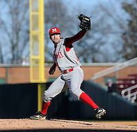 RHP Mac Thoreson (29) of the Miami (Ohio) Redhawks pitches in a game against the Furman Paladins on Sunday, February 17, 2013, at Fluor Field at the West End in Greenville, South Carolina. Furman won, 6-5. (Tom Priddy/Four Seam Images)