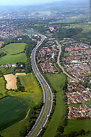 Aerial view of the M4 motorway in Wales after the Second Severn Crossing near the Celtic Manor Hotel seen in the background