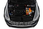 Car Stock 2020 Hyundai Sonata-Hybrid Limited 4 Door Sedan Engine  high angle detail view