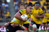 Peter Umaga-Jensen in action during the Super Rugby Aotearoa match between the Hurricanes and Crusaders at Sky Stadium in Wellington, New Zealand on Sunday, 11 April 2020. Photo: Dave Lintott / lintottphoto.co.nz