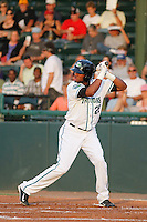 Daytona Tortugas infielder Robert Ramirez (25) in action during a game against the Clearwater Threshers at Radiology Associates Field at Jackie Robinson Ballpark on May 9, 2015 in Daytona, Florida. Clearwater defeated Daytona 7-0. (Robert Gurganus/Four Seam Images)