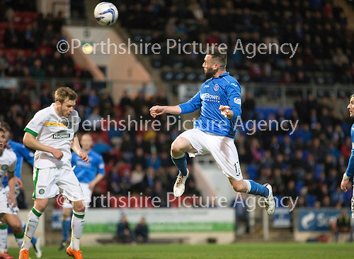 St Johnstone v Celtic...15.05.15   SPFL<br /> James McFadden's header hits the post<br /> Picture by Graeme Hart.<br /> Copyright Perthshire Picture Agency<br /> Tel: 01738 623350  Mobile: 07990 594431