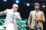 Pitbull and Ne-Yo on stage at The KIIS FM Wango Tango 2011 held at The Staples Center in Los Angeles, California on May 14,2011                                                                   Copyright 2011  DVS / RockinExposures