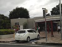 EV Quick Charging Point<br /> Nissan zero emission car, Leaf is charging at EV Quick Charging Point of Highway Service in Saitama, Japan