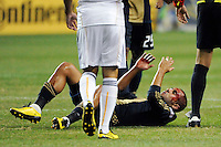 Fred (7) of the Philadelphia Union lays on the ground bleading from the head after being injured on a header. The Los Angeles Galaxy defeated the Philadelphia Union  1-0 during a Major League Soccer (MLS) match at PPL Park in Chester, PA, on October 07, 2010.