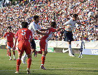 Carlos Bocanegra prepares to head the ball. The USA defeated China, 4-1, in an international friendly at Spartan Stadium, San Jose, CA on June 2, 2007.