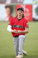 Zac Veen (13) of the Fresno Grizzlies before a game against the Inland Empire 66ers at San Manuel Stadium on May 25, 2021 in San Bernardino, California. (Larry Goren/Four Seam Images)