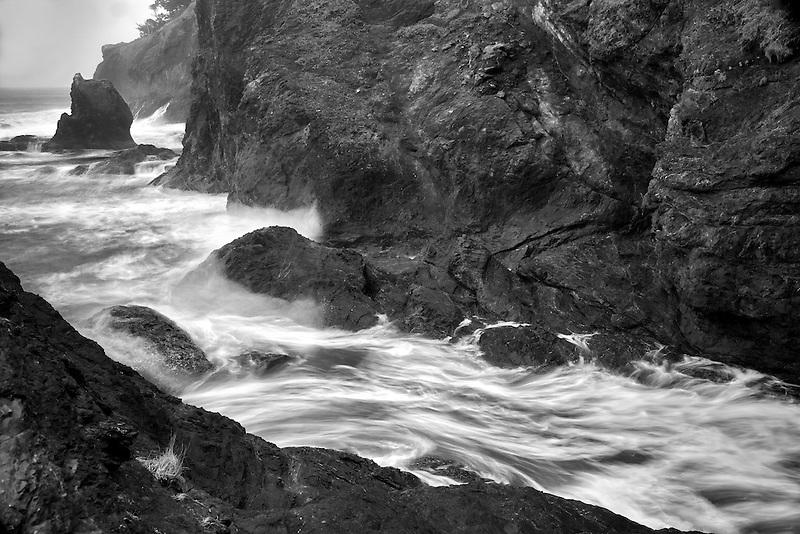 Wave action and rocky shoreline at Samuel H. Boardman State Scenic Corridor. Oregon
