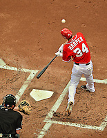 17 June 2012: Washington Nationals outfielder Bryce Harper in action against the New York Yankees at Nationals Park in Washington, DC. The Yankees defeated the Nationals 4-1 to sweep their 3-game series. Mandatory Credit: Ed Wolfstein Photo