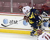 Jimmy Hayes (BC - 10), Karl Stollery (Merrimack - 7) - The Boston College Eagles defeated the Merrimack College Warriors 4-3 on Friday, October 30, 2009, at Conte Forum in Chestnut Hill, Massachusetts.