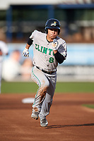 Clinton LumberKings second baseman Bryson Brigman (8) running the bases during a game against the West Michigan Whitecaps on May 3, 2017 at Fifth Third Ballpark in Comstock Park, Michigan.  West Michigan defeated Clinton 3-2.  (Mike Janes/Four Seam Images)