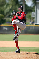 Leudy Mendez participates in the Dominican Prospect League showcase at the New York Yankees academy on September 19,2013 in Boca Chica, Dominican Republic.