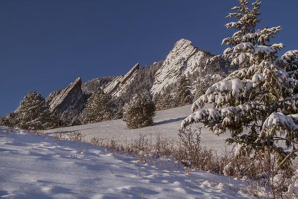 Flatirons rock formation at Chautauqua Park, Boulder Valley, Colorado.