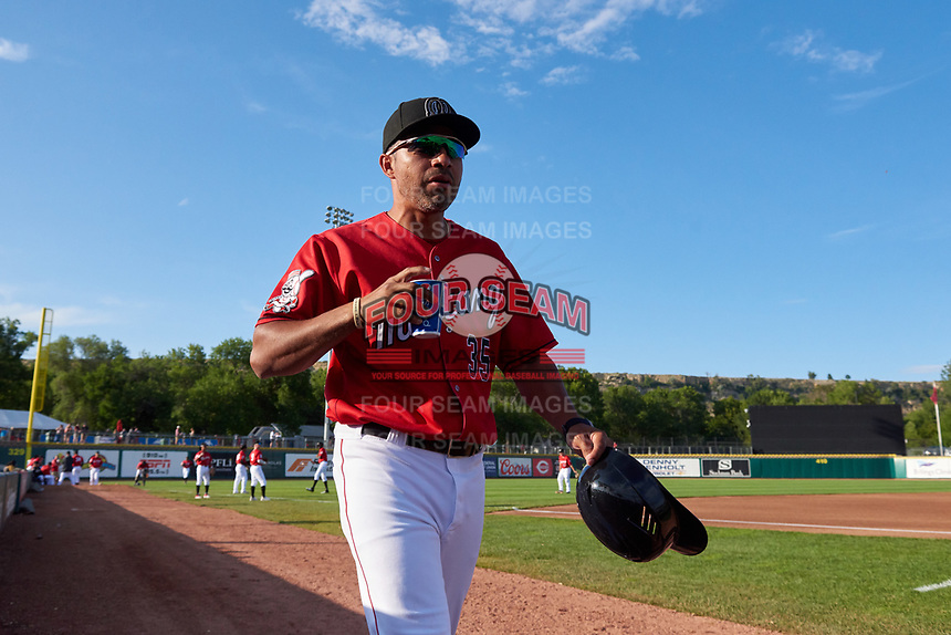 Billings Mustangs batting coach Hernan Iribarren (35) before a Pioneer League game against the Grand Junction Rockies at Dehler Park on August 15, 2019 in Billings, Montana. Billings defeated Grand Junction 11-2. (Zachary Lucy/Four Seam Images)