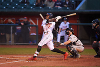 Lansing Lugnuts DJ Neal (7) hits a home run during a Midwest League game against the Wisconsin Timber Rattlers at Cooley Law School Stadium on May 2, 2019 in Lansing, Michigan. Lansing defeated Wisconsin 10-4. (Zachary Lucy/Four Seam Images)