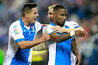 CD Leganes' Claudio Beauvue (r), Gabriel Appelt Pires (l) and Darko Brasanac celebrate goal during La Liga match. October 22,2017.  *** Local Caption *** © pixathlon<br /> Contact: +49-40-22 63 02 60 , info@pixathlon.de