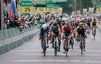 bunch sprint with 3 tenors leading the way: Peter Sagan (SVK/Bora-Hansgrohe) vs Sonny Colbrelli (ITA/Bahrain-Merida) vs Fernando Gaviria (COL/Quick Step Floors).<br /> Sonny won...<br /> <br /> Stage 3: Oberstammheim > Gansingen (182km)<br /> 82nd Tour de Suisse 2018 (2.UWT)