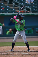 Travis Demeritte (12) of the Gwinnett Stripers at bat against the Charlotte Knights at Truist Field on May 9, 2021 in Charlotte, North Carolina. (Brian Westerholt/Four Seam Images)