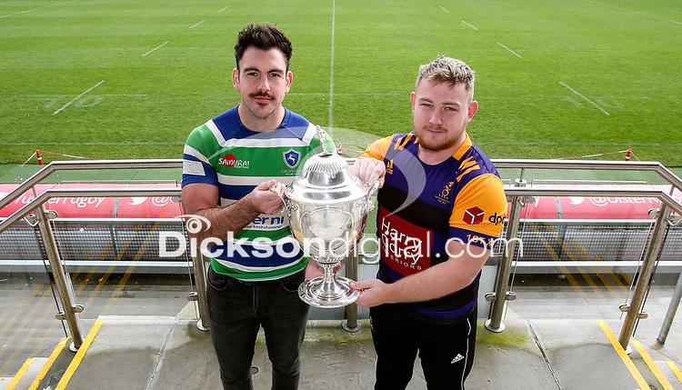 Monday 11th November 2019<br /> <br /> Pictured L-R are Grosvenor RFC Captain Andrew Kelly, and Instonians RFC vice-captain David Scott at the draw for the Semi-Final of this seasons MMW Legal Ulster Junior Cup which was held at Kingspan Stadium, Ravenhill Park, Belfast, Northern Ireland. Photo credit - John Dickson DICKSONDIGITAL