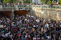 Protesters emerge from the tunnel beneath Scott Circle during a march against police brutality and racism in Washington, D.C. on Saturday, June 6, 2020.<br /> Credit: Amanda Andrade-Rhoades / CNP/AdMedia