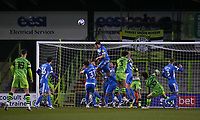 Matthew Platt of Barrow clears the ball during the Sky Bet League 2 match between Forest Green Rovers and Barrow at The New Lawn, Nailsworth on Tuesday 27th April 2021. (Credit: Prime Media Images I MI News)