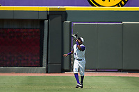 Winston-Salem Dash center fielder Luis Alexander Basabe (16) catches a fly ball during the game against the Potomac Nationals at BB&T Ballpark on August 6, 2017 in Winston-Salem, North Carolina.  The Nationals defeated the Dash 4-3 in 10 innings.  (Brian Westerholt/Four Seam Images)
