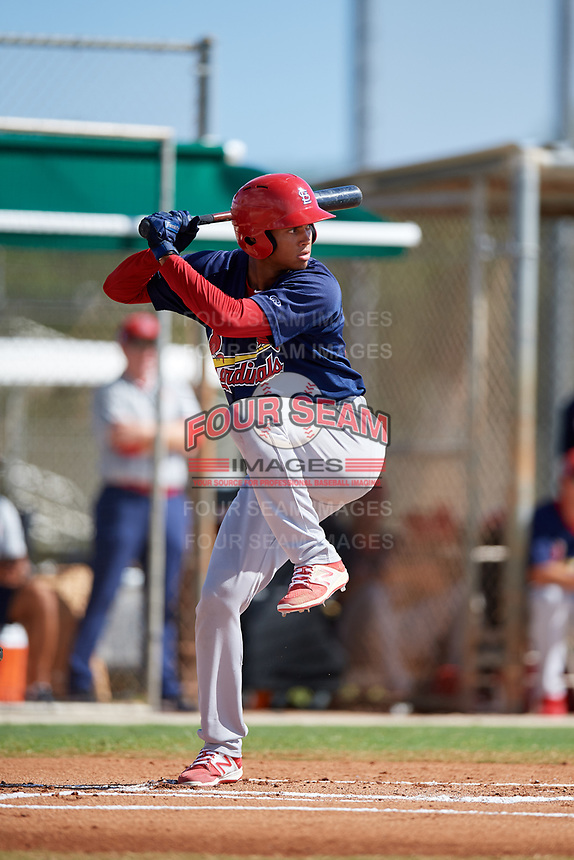 GCL Cardinals right fielder Jhon Torres (33) at bat during a game against the GCL Marlins on August 4, 2018 at Roger Dean Chevrolet Stadium in Jupiter, Florida.  GCL Marlins defeated GCL Cardinals 6-3.  (Mike Janes/Four Seam Images)