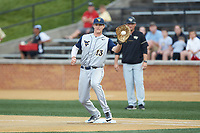 West Virginia Mountaineers first baseman Jackson Cramer (13) receives a throw during the game against the Wake Forest Demon Deacons in Game Six of the Winston-Salem Regional in the 2017 College World Series at David F. Couch Ballpark on June 4, 2017 in Winston-Salem, North Carolina. The Demon Deacons defeated the Mountaineers 12-8. (Brian Westerholt/Four Seam Images)