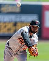 Fresno Grizzlies starting pitcher Francis Martes (45) warms up in the bullpen before the game against the Salt Lake Bees in Pacific Coast League action at Smith's Ballpark on April 16, 2017 in Salt Lake City, Utah.  (Stephen Smith/Four Seam Images)