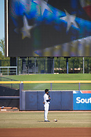 Peoria Javelinas shortstop Lucius Fox (5), of the Tampa Bay Rays organization, stands at attention during the national anthem before an Arizona Fall League game against the Scottsdale Scorpions at Peoria Sports Complex on November 15, 2018 in Mesa, Arizona. Peoria defeated Scottsdale 2-1. (Zachary Lucy/Four Seam Images)