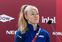 TOKYO, JAPAN - JULY 20: Becky Sauerbrunn #4 of the USWNT talks to the media during a press conference at Tokyo Stadium on July 20, 2021 in Tokyo, Japan.