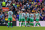 Real Betis players celebrate as Hector Junior Firpo Adames of Real Betis scores the team's goal during the La Liga 2018-19 match between FC Barcelona and Real Betis at Camp Nou, on November 11 2018 in Barcelona, Spain. Photo by Vicens Gimenez / Power Sport Images