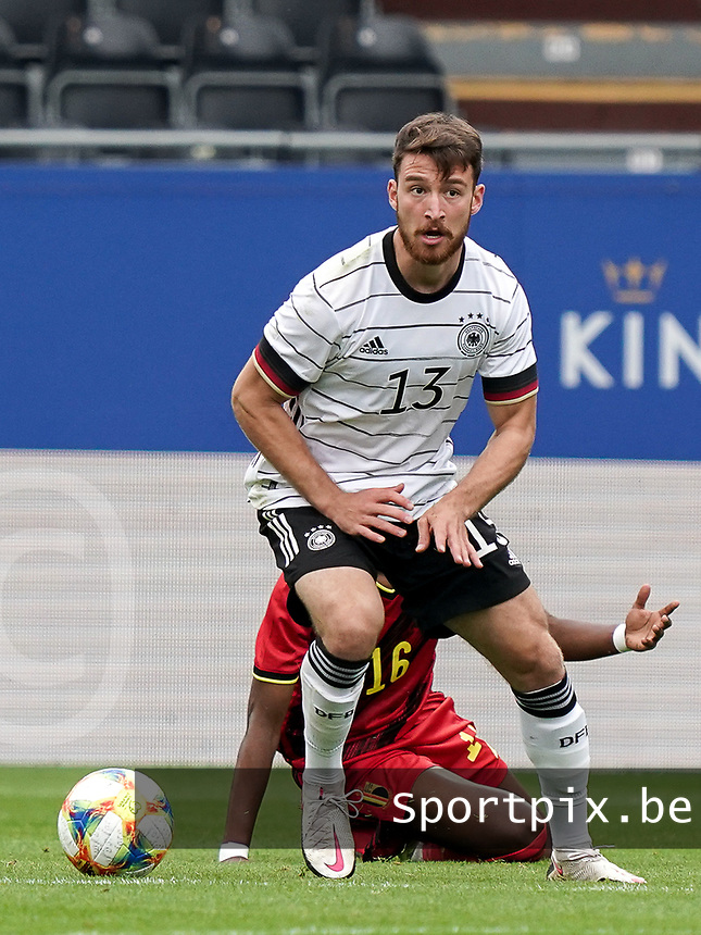 Germany's Salih Ozcan (13) with the ball  during a soccer game between the national teams Under21 Youth teams of Belgium and Germany on the 5th matday in group 9 for the qualification for the Under 21 EURO 2021 , on tuesday 8 th of September 2020  in Leuven , Belgium . PHOTO SPORTPIX.BE | SPP | SEVIL OKTEM