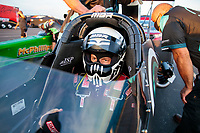 Sep 3, 2020; Clermont, Indiana, United States; NHRA top alcohol dragster driver Corey Michalek during qualifying for the US Nationals at Lucas Oil Raceway. Mandatory Credit: Mark J. Rebilas-USA TODAY Sports