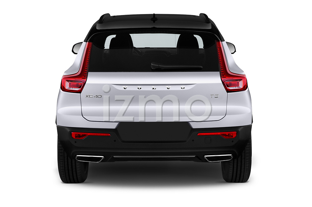 Straight rear view of 2019 Volvo XC40 R-Design 5 Door SUV Rear View  stock images