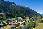 Austria, Tyrol, Stubai Valley, view across Neustift into Stubai Valley with Stubai Alps, background Stubai Glacier