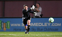 Chicago goalkeeper Caroine Jonsson (1) distributes the ball to her left back.  Sky Blue defeated the Chicago Red Stars 1-0 in a mid-week game, Wednesday, June 17, at Yurcak Field.