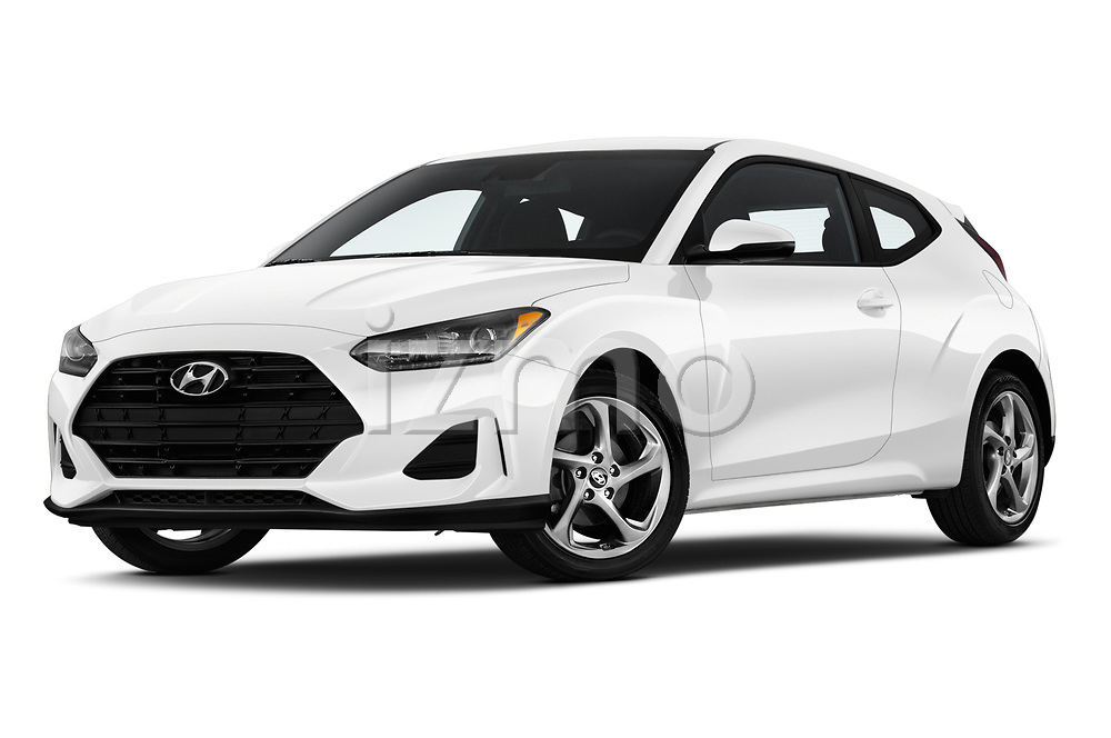 Stock pictures of low aggressive front three quarter view of a 2019 Hyundai Veloster Base 3 Door Hatchback