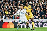 Luka Modric of Real Madrid (L) fights for the ball with Blaise Matuidi of Juventus (R) during the UEFA Champions League 2017-18 quarter-finals (2nd leg) match between Real Madrid and Juventus at Estadio Santiago Bernabeu on 11 April 2018 in Madrid, Spain. Photo by Diego Souto / Power Sport Images
