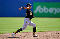 Pittsburgh Pirates shortstop Ji-Hwan Bae (90) throws to first base during a Major League Spring Training game against the Toronto Blue Jays on March 1, 2021 at TD Ballpark in Dunedin, Florida.  (Mike Janes/Four Seam Images)