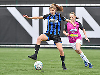 Marie Minnaert (13 Brugge) pictured in front of Aalst's Loes Van Mullem during a female soccer game between Club Brugge Dames YLA and Eendracht Aalst Ladies on the 9 th matchday of the 2020 - 2021 season of Belgian Scooore Womens Super League , saturday 12 December 2020  in Brugge , Belgium . PHOTO SPORTPIX.BE | SPP | DAVID CATRY
